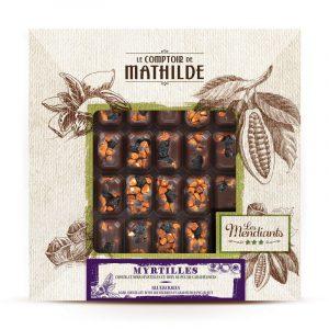 Mendiant Myrtilles et Noix de Pécan Caramélisés – Chocolat noir 240G